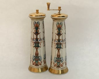 Tall LENOX Decorated Ivory China SALT Shaker & PEPPER Mill,Ivory China w/ Hand Decorated 24K Gold Trim, Lenox Serving Accessory,Wedding Gift