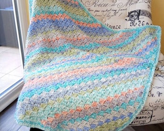 Colourful crochet baby blanket, very soft and ready to ship!