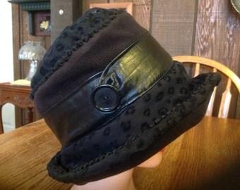 Woman's Bucket Hat, Women's Black Bucket Hat, Black Cloche, Black Fleece Bucket Hat, Kentucky Derby Hat