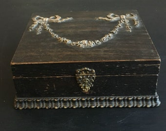 Stunning Antique Victorian Austrian Court Boxes Lined Jewelry Dresser Box Hinged w/ Flowers and Bows Vanity Wooden Box Nice