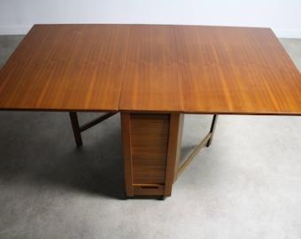 Mid Century Danish Modern Drop Leaf Hide A Way Table w/ 4 Folding Chairs
