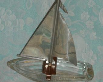 Rare 1940s Boat Ash Tray. Vintage Ashtray. Nautical Figural Meyer Ash Receiver w Match Striker & Chrome Sail. Marked w Patent Number. pLma