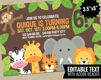 Editable Safari Birthday Invitation Template - Printable Jungle Theme Invite - Neutral Kids Birthday Party - First Birthday Instant Download