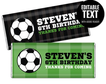 Soccer Chocolate Bar Wrappers. Birthday Chocolate Bar Wraps. Printable Party favors. Football Editable Large Candy Bar Labels. DIY