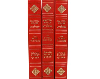 Vintage 1976 Red & Gold Book Set of 3 Masterpieces of Mystery Books- Supersleuths, Grand Masters, and Prizewinners Selected by Ellery Queen