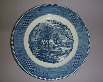 2 Courier and Ives Old Grist Mill blue and white Dinner Plates from Royal China