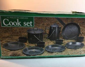 New/Old Stock Black Speckled Enamelware Camping Set, 13 Piece Set