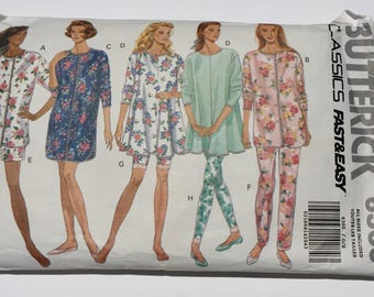 Vintage  Butterick Sewing Pattern 6360, 1992 Pattern, Misses and Petite Pajamas Top Pants Shorts and leggings Nightshirt, Quiltsy Destash