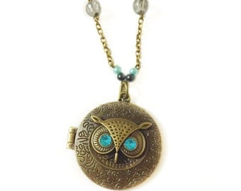 Mark of Athena Owl Locket Necklace, Percy Annabeth Chase inspired, Greek Mythology, Geeky, Trendy Animal Jewelry, Statement Necklace