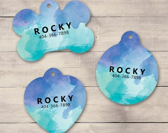 Ocean Watercolors Pet ID Tag, Custom Pet Tag, Personalized Dog Tag, Dog ID Tag, Puppy Tag, Dog ID, Pet Tag, Cat Tag (0007)