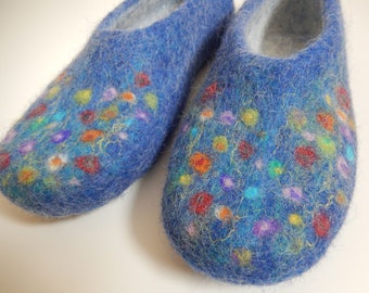 Felted Wool Blue Slippers with Flowers made in SCOTLAND, Edinburgh