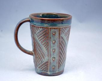 Handmade Tall Blue Ceramic Coffee Tea Mug, carved geometric pattern, functional pottery, rustic pottery, earthy, non-toxic glaze