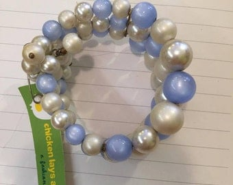 1990S // BLUE PEARL SNAP // Three Strand Pull-Apart Braclet