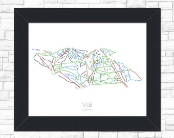 Vail Map Colorado  CO Ski Snowboard Trail Map Art --- Print, Poster, Picture --- Frame, Gift, Present --- Resort, Mountain, Snow, Winter