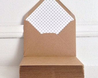 Set of Lined Kraft Envelopes, Wedding Invitation Envelopes, Rustic Wedding, Rustic Kraft Envelopes, Handmade, Polka Dot Envelopes