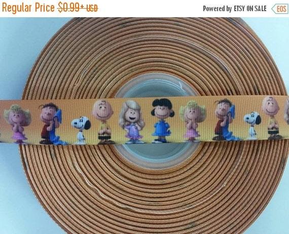 "SUPER SALE PEANUTS Charlie Brown 7/8"" Grosgrain Hair Bow Craft Ribbon 782192"