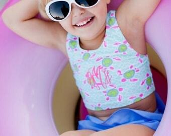Monogrammed Bathing suit, Girls Swim Suit