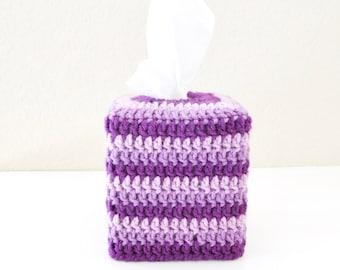 Crochet Tissue Box Cover - Purple Striped Tissue Box Cozy - Kleenex Tissue Box Cover - Nursery Decor -  Purple Bathroom Accessory
