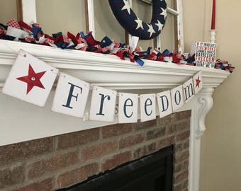 Summer Decor• Summer Banner • Freedom Banner • July 4th Decorations • Patriotic Banner• July 4th Banner
