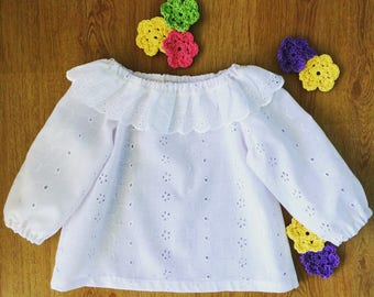 Sweet broderie anglaise swing top, baby girls top, long sleeve shirt.