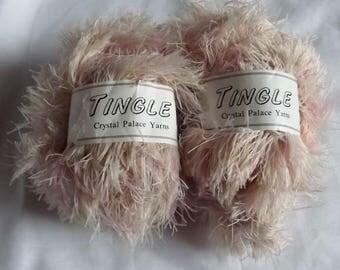 Crystal Palace Tingle Destash Yarn 2 Skeins Color 9016 Soft Eyelash Pale Pink 90 Yards Total Stash Builder