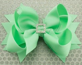 Mint Green Boutique Hair Bow with Spikes