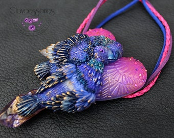 Heart necklace / Heart pendant / Love necklace / Bird necklace / Amethyst necklace / Valentine necklace / Polymer clay necklace