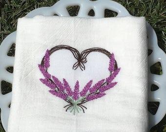 Lavender Heart Tea Towel