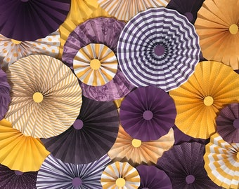 10pc Set of purple yellow gold  Paper Pinwheel's Rosette paper Flower Graduation Party wedding birthday shower pinwheel  paper fan