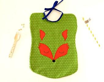 Animal sponge bib Fox, bib child sponge green, great green child bib embroidered Fox, bib baby girl, boy birth gift