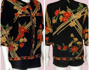 Vintage Floral Blouse Satin Rose Print Top Hippie Boho Chic