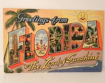ON SALE Vintage 1943 Linen Postcard Greetings From FLORIDA Wwii Era Mailed Souvenir 1940's