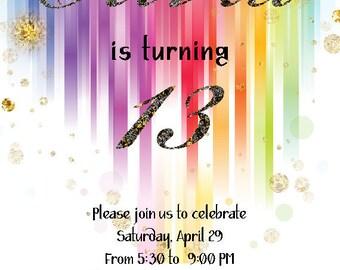 13th Birthday Invitation, teen invitations for girl, printable DIY invite, digital downloadable invite, Rainbow & glitter background