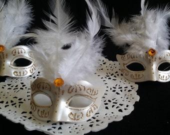 Gold Masquerade, Gold Mask Favors, Feathers Mask Favor, Silver Eye Mask, Masquerade Ball, Mask Cake Decoration, Masquerade Cupcake Topper 12