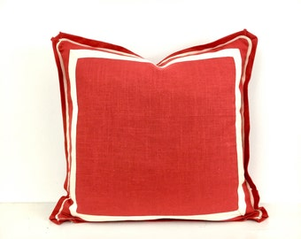 Red Linen Pillow Cover with Butterfly Flange