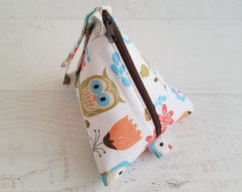 Large Pacifier Bag | Plush Pacifier Holder | Pacifier Pod | Pacifier Pouch | Owl Baby Shower | Triangle Bag | Computer Accessories Bag