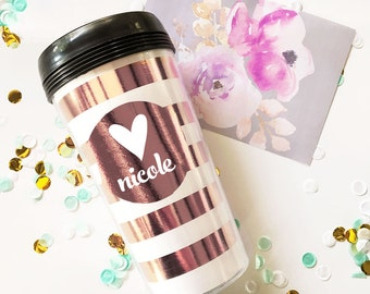 Personalized Gifts for Women Personalized Travel Mugs Personalized Coffee Mug Personalized Birthday Gift Rose Gold Mug (EB3135)