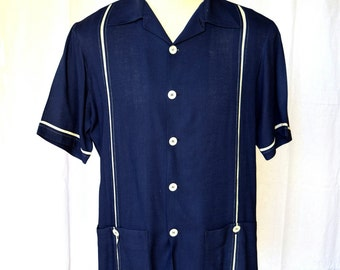 50s Two Tone Navy and White Vented Rayon Cabana / Beach Shirt LARGE