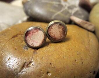 Pink Rose Post Earrings - Pressed Flower Earrings (Bronze) - 8mm Post Earrings