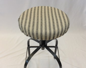 French Ticking Elasticized Round Barstool Cover, Kitchen Stool Seat Cover,  Cottage Chic, Vintage