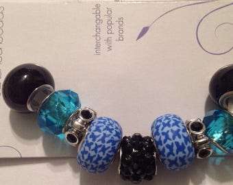 Darnice 9 piece Mix and Mingle Glass Metal Lined Beads....Interchangeable with Popular Brand Bracelets..... NEW