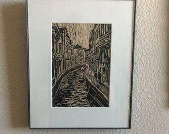Venice linocut print