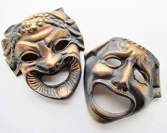 Mid Century Comedy and Tragedy Masks, Greek Theater Masks, Heavy Cast Brass with a Coppery Bronze Finish
