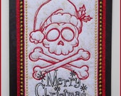 Santa skull, machine embroidered fabric art card, Christmas card, padded ivory and gold fabric, black card, A5 size approx. 8in x 5.3/4in.