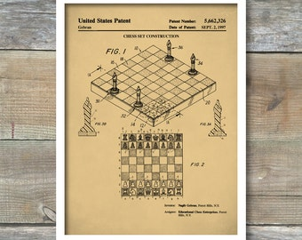 Chess Game Patent Poster, Board Game Art, Game Room Wall Art, Chess Decor, P487