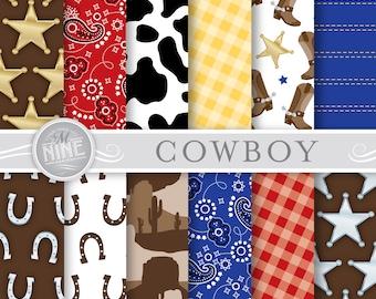 COWBOY Digital Paper: Cowboy Patterns Print, Western Party Paper Pack Pattern Scrapbook Print
