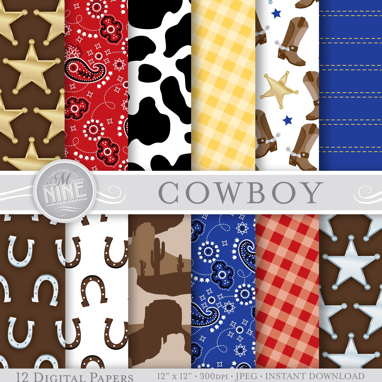 COWBOY Digital Paper: Cowboy Patterns Print Western Party