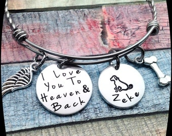 Dog Memorial Gift, Loss of Family Dog, Pet Loss Gift, Memorial Bangle, Sympathy Bracelet, In loving memory of dog, Dog Death Gift