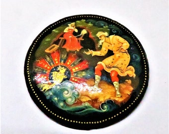 Hand Painted Brooch - Vintage, Russian, Wood, Mystical Scene, Black Lacquered Pin