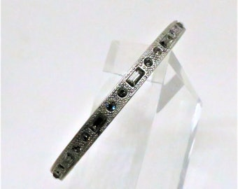 Crystal Bangle - Vintage, Tommassini Signed, Silver Tone, Clear Crystal Bracelet